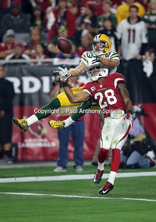 Arizona Cardinals cornerback Justin Bethel (28) jumps and breaks up a deep second quarter pass intended for Green Bay Packers wide receiver Jeff Janis (83) during the NFL NFC Divisional round playoff football game against the Arizona Cardinals on Saturday, Jan. 16, 2016 in Glendale, Ariz. The Cardinals won the game in overtime 26-20. (©Paul Anthony Spinelli)