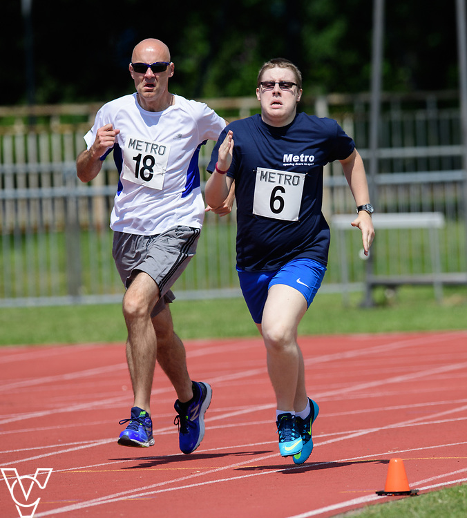 Metro Blind Sport's 2017 Athletics Open held at Mile End Stadium.  800m.  David Beynon, left, and Matthew Boulding<br /> <br /> Picture: Chris Vaughan Photography for Metro Blind Sport<br /> Date: June 17, 2017