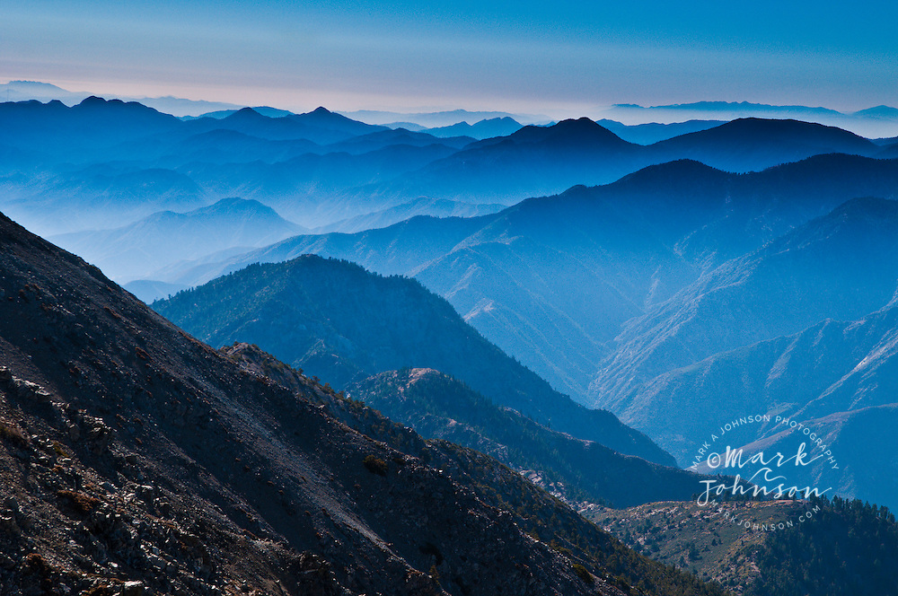 View from the summit of Mount San Antonio, (Mt. Baldy), San Gabriel Mountains, Los Angeles County, S. California, USA