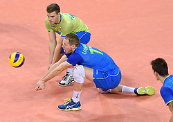 Tine Urnaut #17, Jani Kovacic #13 during volleyball match between National teams of Poland and Slovenia in Quarterfinals of 2015 CEV Volleyball European Championship - Men, on October 14, 2015 in Arena Armeec, Sofia, Bulgaria. Photo by Ronald Hoogendoorn / Sportida