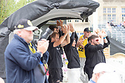 Leicestershire team mates celebrate Hassan Azad 100 during the Specsavers County Champ Div 2 match between Gloucestershire County Cricket Club and Leicestershire County Cricket Club at the Cheltenham College Ground, Cheltenham, United Kingdom on 18 July 2019.