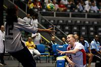 20111216: SAO PAULO, BRAZIL -<br />  XX World Handball Angola x Rússia in Ibirapuera Gym at Sao Paulo, Brazil.<br /> In photo: Cristina (Angola) and Uskova (Russia).<br /> PHOTO: CITYFILES