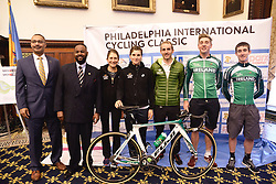 Kicking off the 2016 Philadelphia International Cycling Classic bike race weekend DAVID WILSON, Dept. Man. Dir for Community & Culture, Councilman CURTIS JONES JR., 2015 winner CARLOS BARBERO,  athletes, race and city officials held a June 3rd, 2016 press conference at CityHall, Philadelphia Pennsylvania. Pro-cyclist will compete at a 73.8miles/118.7km course for the UCI Women's World Tour and 110.7miles/178.2km for the UCI 1.1 Men's America Tour during the Philadelphia Cycling Classic on Sunday June 5th, 2016.