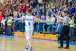 Tadej Kostomaj of Rogaska and referee during basketball match between KK Rogaska and KK Tajfun in 3rd Round of Final of Slovenian National Basketball Championship 2014/15, on May 26, 2015 in Sportna dvorana, Rogaska Slatina, Slovenia. Photo by Ziga Zupan / Sportida