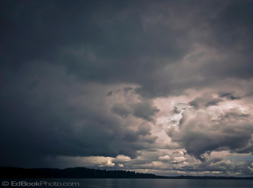 approaching storm on Dyes Inlet, Kitsap Peninsula, Puget Sound, Washington state, USA