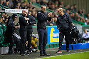 Hibernian FC manager, Jack Ross encourages his team during the Ladbrokes Scottish Premiership match between Hibernian FC and Hamilton Academical FC at Easter Road Stadium, Edinburgh, Scotland on 22 January 2020.