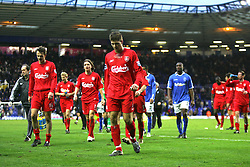 BIRMINGHAM, ENGLAND - SATURDAY FEBRUARY 12th 2005: Liverpool's captain Steven Gerrard walks off the pitch dejected after losing 2-0 to Birmingham during the Premiership match at St. Andrews (Pic by David Rawcliffe/Propaganda)