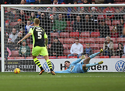 Yeovil Town's Chris Dunn makes a great early save - Photo mandatory by-line: Matt Bunn/JMP - Tel: Mobile: 07966 386802 14/12/2013 - SPORT - Football - Barnsley - Oakwell - Barnsley v Yeovil Town - Sky Bet Championship