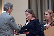 "18174Sales Celebration and Awards Ceremony, April 19, 2007. Walter Hall Rotunda...Mr. Tom Starr presenting Grand""Starr"" Award Drawing to Jacki Diguls"