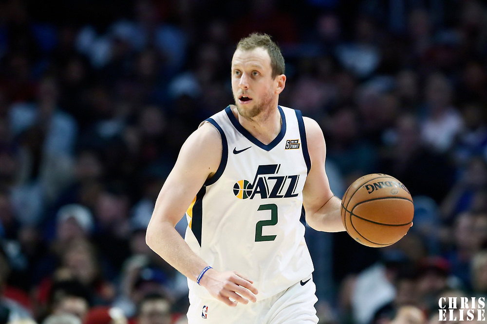 LOS ANGELES, CA - NOV 3: Joe Ingles (2) of the Utah Jazz brings the ball up court during a game on November 3, 2019 at the Staples Center, in Los Angeles, California.