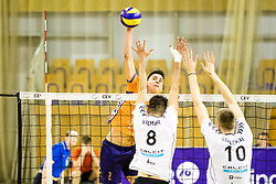 Petar Dirlic of ACH Volley vs Primoz Vidmar and Saso Stalekar of Calcit Volley during 3rd Leg volleyball match between ACH Volley and OK Calcit Volley in Final of 1. DOL Slovenian National Championship 2017/18, on April 24, 2018 in Hala Tivoli, Ljubljana, Slovenia. Photo by Matic Klansek Velej / Sportida