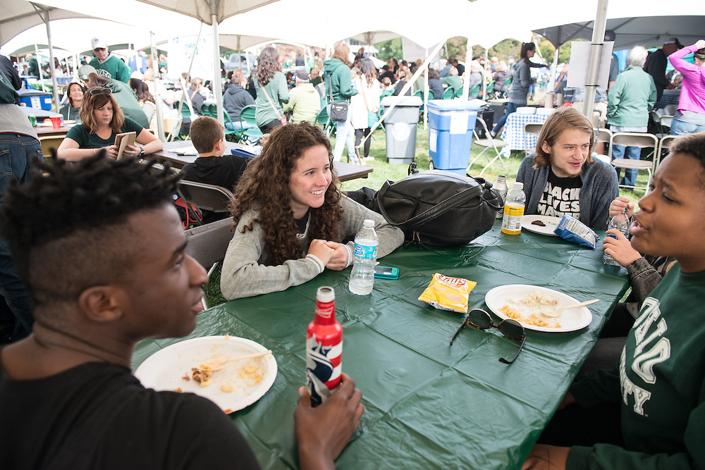 Members of the Student Senate Society enjoy a pregame lunch during the homecoming tailgate party  at Tailgreat Park on Saturday, October 8, 2016.