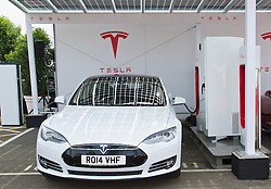 LONDON, ENGLAND - Saturday, June 7, 2014: The UK's first Supercharger station at the UK launch of Tesla Motors' Model S electric car at the Crystal. (Pic by David Rawcliffe/Propaganda)