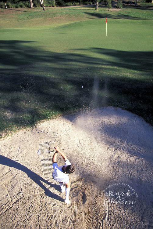 Man hitting out of sand trap on golf course, Brisbane, Queensland, Australia ****Model Release available