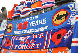 Commerative Scarfs for sale outside Ibrox on Remembrance Sunday ahead of the match between Rangers v Motherwell, Ladbrokes Scottish Premiership, Ibrox, Sunday 11 November 2018  (c) Angie Isac | SportPix.org.uk