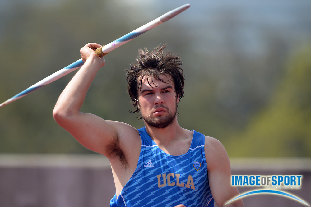 Mar 28, 2014; Austin, TX, USA; Cody Danielson of UCLA throws 193-5 (58.95m) in the javelin in the 87th Clyde Littlefield Texas Relays at Mike A. Myers Stadium.