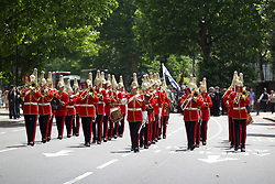© Licensed to London News Pictures. 30/06/2013. London, UK. Bandsmen of the Lifeguards march through Southwark in London today (30/06/2013) as part of Armed Forces Day celebrations held across the country during the weekend. Units, including City of London Field Hospital Volunteers, The Royal Marines Reserve (City of London), RMR London, The London Irish Rifles: 'D' Company and The London Regiment, all units with connections to the Southwark, were today presented with the freedom of the borough as part of Armed Forces Day celebrations. Photo credit: Matt Cetti-Roberts/LNP