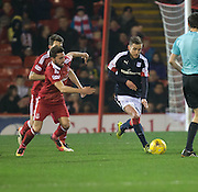Dundee&rsquo;s Nick Ross goes away from Aberdeen&rsquo;s Graeme&nbsp;Shinnie - Aberdeen v Dundee in the Ladbrokes Scottish Premiership at Pittodrie, Aberdeen - Photo: David Young, <br /> <br />  - &copy; David Young - www.davidyoungphoto.co.uk - email: davidyoungphoto@gmail.com