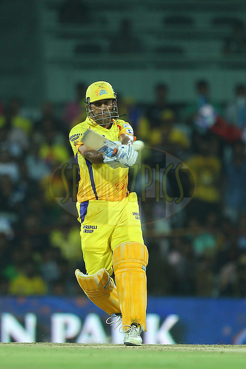 MS Dhoni captain of the Chennai Superkings  during match 47 of the Pepsi IPL 2015 (Indian Premier League) between The Chennai Superkings and The Rajasthan Royals held at the M. A. Chidambaram Stadium, Chennai Stadium in Chennai, India on the 10th May 2015.<br /> <br /> Photo by:  Ron Gaunt / SPORTZPICS / IPL