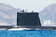 Spanish navy submarine arrives at the port of Cartagena. Spain. 26/8/2010
