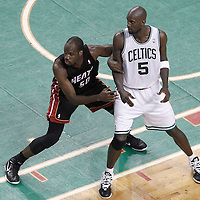 03 June 2012: Miami Heat center Joel Anthony (50) defends on Boston Celtics power forward Kevin Garnett (5) during the Boston Celtics 93-91 overtime victory over the Miami Heat, in Game 4 of the Eastern Conference Finals playoff series, at the TD Banknorth Garden, Boston, Massachusetts, USA.