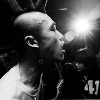 """CHINA : PUNKS bw<br /> BEIJING, HAIDIAN DISTRICT, CHINA - JULY 3: Xiao Rong of """"Brain Failure"""" performs at the Scream bar July 3, 1999 in the Haidan district of Beijing, China. In the spring of 1998, a handful of youngsters teamed up to unofficially rebel against conformist Chinese life. They shaved their heads, and founded bands with names like """"Brain Failure"""" and """"Anarchy Boys."""" To some like punker Xiao Rong, this lifestyle was an extension of the life he'd begun as a school dropout at age 16. Although the majority of the punks came from well-off families, they preferred to live in s...<br /> See More +BEIJING, HAIDIAN DISTRICT, CHINA - JULY 3: Xiao Rong of """"Brain Failure"""" performs at the Scream bar July 3, 1999 in the Haidan district of Beijing, China. In the spring of 1998, a handful of youngsters teamed up to unofficially rebel against conformist Chinese life. They shaved their heads, and founded bands with names like """"Brain Failure"""" and """"Anarchy Boys."""" To some like punker Xiao Rong, this lifestyle was an extension of the life he'd begun as a school dropout at age 16. Although the majority of the punks came from well-off families, they preferred to live in self-imposed poverty. The Scream Bar and its surrounding dusty alleyways in the student district became the center of youthful rebellion until it was finally closed in 2000. The punks bands have moved on to other bars in Beijing, some received contracts with foreign record companies and even toured in Europe, Japan and the U.S."""
