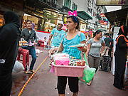 05 JULY 2011 - BANGKOK, THAILAND: Vendors and souvenir hawkers on Soi Arab in Bangkok. Soi Arab is an alleyway in Bangkok. What started as an alley has now grown into a neighborhood that encompasses several blocks of restaurants, hotels and money exchanges that cater to Middle Eastern visitors to Thailand. The official name of the street is Sukhumvit Soi 3/1, located in North Nana between Sukhumvit Soi 3 and Sukhumvit Soi 5, not far from the Nana Plaza night-life area and the Grace Hotel popular among Arabs.   PHOTO BY JACK KURTZ