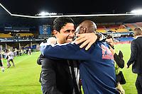 Joie PSG Champion - Zoumana CAMARA / Nasser AL KHELAIFI - 16.05.2015 - Montpellier / Paris Saint Germain - 37eme journee de Ligue 1<br />Photo : Alexandre Dimou / Icon Sport