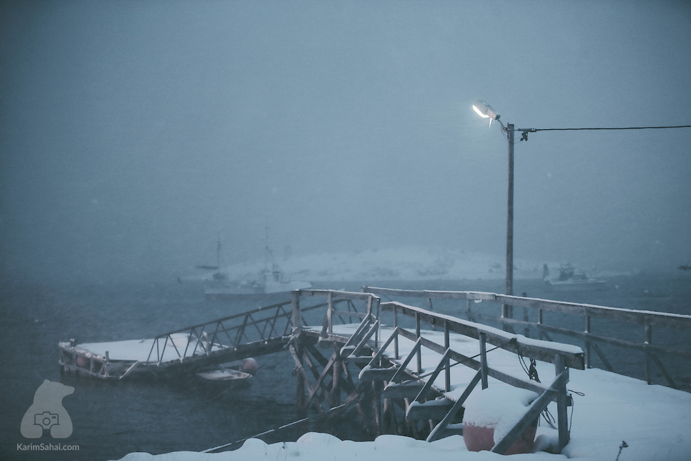 An arctic storm sweeps across a jetty, Finnmark, Norway.