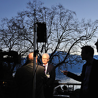 Geneva 2 Syria talks, taking place in Montreux, at the Montreux Palace Hotel. Danish minister of foreign affairs talking to the press following the end of the meeting.