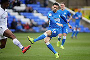 Peterborough Utd's Daniel Lafferty (18) gets in a shot during the EFL Sky Bet League 1 match between Peterborough United and Wycombe Wanderers at London Road, Peterborough, England on 2 March 2019.