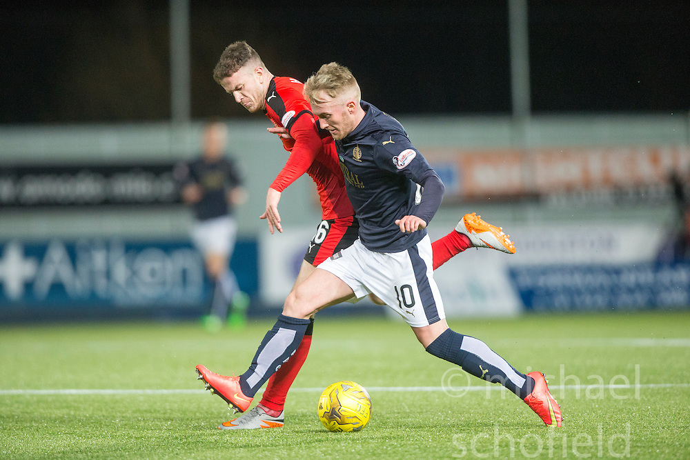 Rangers Andrew Halliday and Falkirk's Craig Sibbald. <br /> Falkirk 3 v 2 Rangers, Scottish Championship game player at The Falkirk Stadium, 18/3/2016.