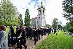 © Licensed to London News Pictures. 03/10/2019. High Wycombe, UK. Mourners depart St Lawrence's Church in High Wycombe after the funeral of Libby Squire.<br /> Libby Squire was a 21-year-old Hull University student and originally from High Wycombe she disappeared after a night out in Hull on February 1st, 2019. After extensive searches her body was found close to Spurn Point on March 20th, 2019. Photo credit: Peter Manning/LNP
