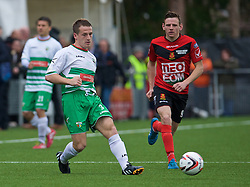 NEWTOWN, WALES - Saturday, May 2, 2015: The New Saints' Chris Marriott in action against Newtown's Luke Boundford during the FAW Welsh Cup final match at Latham Park. (Pic by Ian Cook/Propaganda)