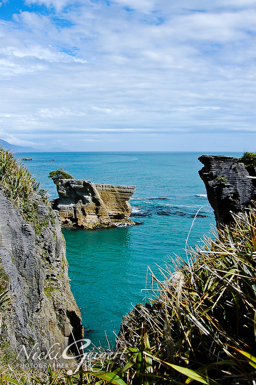 View of offshore ocean cliffs with blue water and sky, Kailoura. Seascape and nature photography art for sale. Fine art photography prints and wall art.