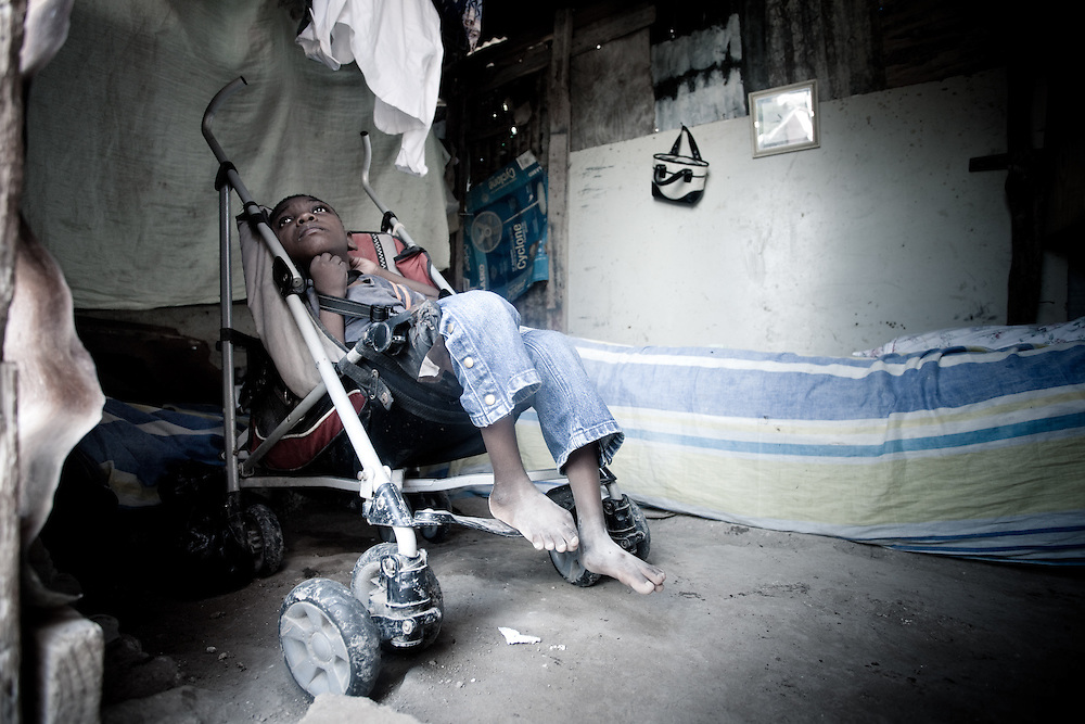 A disabled boy in a camp in Port au Prince, Haiti