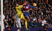 Marouane Chamakh causes mayhem for Lukasz Fabianski during the Barclays Premier League match between Crystal Palace and Swansea City at Selhurst Park, London, England on 28 December 2015. Photo by Michael Hulf.