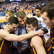 The Loyola University Chicago Men's Basketball team celebrates after hitting a game-winning shot in the second round game of the NCAA Tournament against the University of Tennessee at the American Airlines Center in Dallas, TX., on Saturday, March 17, 2018. (Photo: Lukas Keapproth)