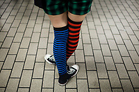Colorful socks on a Japanese girl in Osaka.