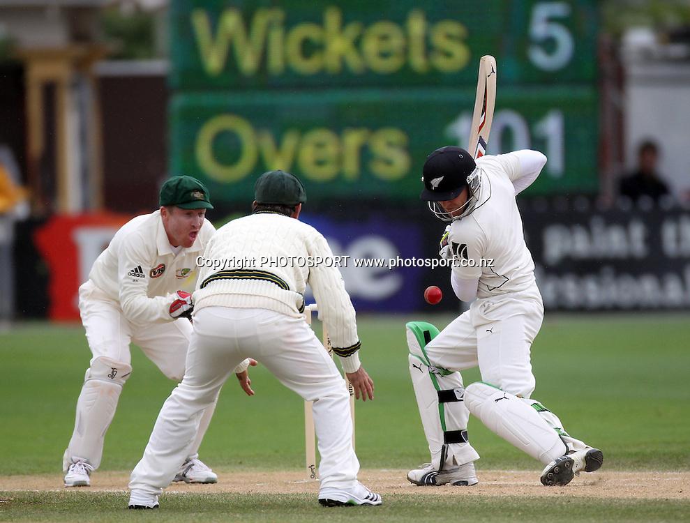 New Zealand batsman Brendon McCullum.<br />Test Match Cricket. 1st test. Day 4.<br />New Zealand Black Caps versus Australia. Basin Reserve, Wellington, New Zealand. Monday 22 March 2010. <br />Photo: Andrew Cornaga/PHOTOSPORT