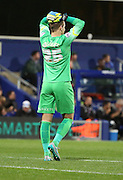 Alex Smithies (QPR Goalkeeper) cant believe QPR didnt score an easy chance during the Capital One Cup match between Queens Park Rangers and Carlisle United at the Loftus Road Stadium, London, England on 25 August 2015. Photo by Matthew Redman.