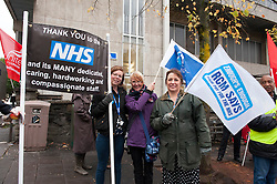 © Licensed to London News Pictures. 13/10/2014. Bristol, UK. NHS staff on strike in Bristol over pay.  Picture of members of the Royal College of Midwives on strike for the first time in their 133-year history, outside the Bristol Maternity Hospital. Photo credit : Simon Chapman/LNP