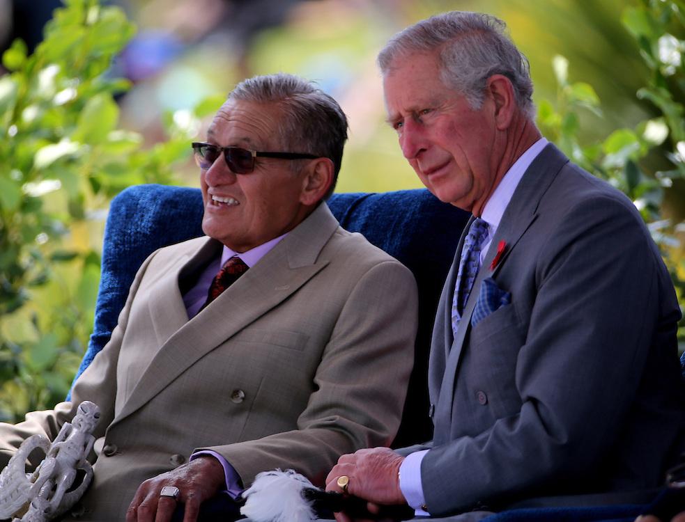 Prince Charles, Prince of Wales, right, with the maori king Kiingi Tuheitia about to watch a display by 5 waka, maori canoes on the Waikato River at Turangawaewae Marae, Hamilton, New Zealand, Sunday, November 08, 2015. Credit:SNPA / David Rowland **POOL**