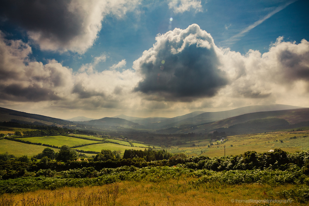 A Bank of rolling clouds hovers over a disant valley high in the picteresque mountains of Co. Wicklow valley high in the picteresque mountains of Co. Wicklow