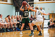 St. Johnsbury's Neva Bostic (23) looks to pass the ball during the girls basketball game between the St. Johnsbury Hilltoppers and the Essex Hornets at Essex high school on Tuesday night January 5, 2016 in Essex. (BRIAN JENKINS/for the FREE PRESS)