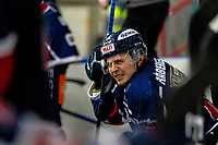 2020-01-22 | Kallinge, Sweden: Krif hockey (16) Victor Laz  is hurt during the game between Krif hockey and Halmstad Hammers at Soft Center Arena (Photo by: Jonathan Persson | Swe Press Photo)<br /> <br /> Keywords: kallinge, Ishockey, Icehockey, hockeyettan, allettan södra, soft center arena, krif hockey, halmstad hammers (Match code: krhh200122)
