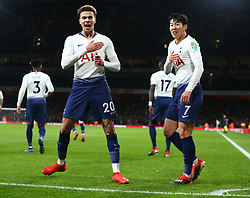 December 19, 2018 - London, England, United Kingdom - London, UK, 19 December, 2018.Tottenham Hotspur's Dele Alli celebrate his goal with Tottenham Hotspur's Son Heung-Min.during Carabao Cup Quarter - Final between Arsenal and Tottenham Hotspur  at Emirates stadium , London, England on 19 Dec 2018. (Credit Image: © Action Foto Sport/NurPhoto via ZUMA Press)