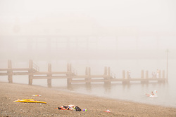 &copy; Licenced to London News Pictures<br /> Aberystwyth,UK. 8/07/2018. A misty morning in Aberystwyth, as the sea mist rolls in off Cardigan Bay to take the edge off the temperatures on the west wales coast. <br /> Over much of the UK  the prolonged  heat wave and very dry weather continues unbroken, with temperatures expected to climb again towards the end of the week. Photo credit Keith Morris/LNP