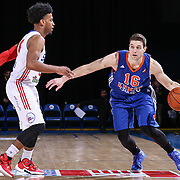 BYU alumni JIMMER FREDETTE (16) dribbles down court as Delaware 87ers Guard GARY TALTON (6) defends in the second half of a NBA D-league regular season basketball game between the Delaware 87ers and the Westchester Knicks  Saturday Dec, 26, 2015 at The Bob Carpenter Sports Convocation Center in Newark, DEL