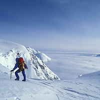 USA, Alaska, Denali National Park, (MR) Rudiger Stuiss peers out from Windy Corner while climbing Mount McKinley